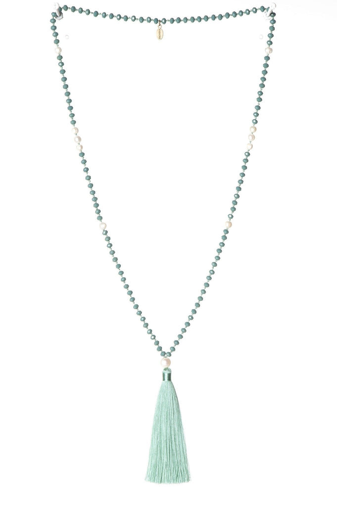 Turquoise Tassel Necklace Medium Crystals - Fresh Water Pearls