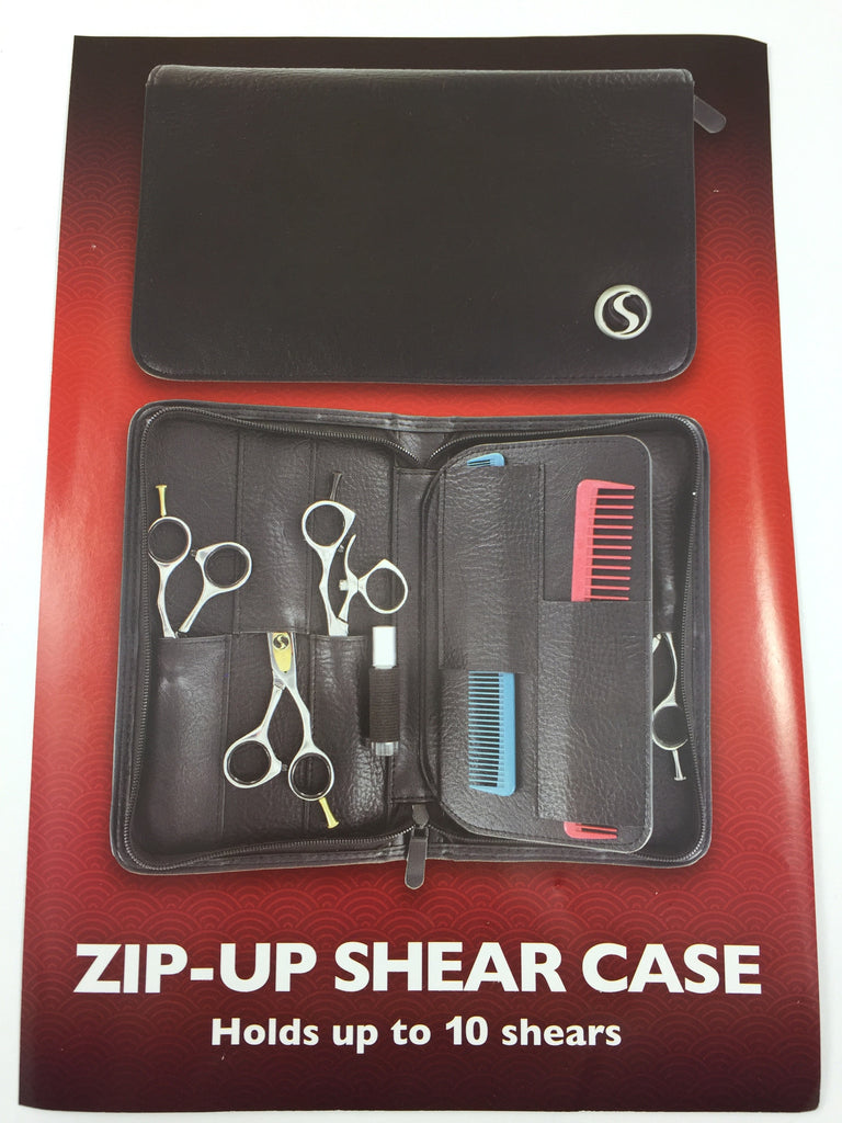 Leather Zip-Up Shear Case ~ Holds up to 10 Shears
