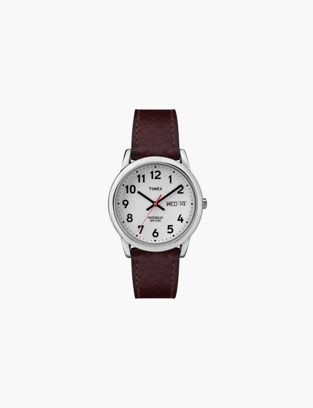 Timex / Easy Reader in Silver-Tone with Dark Brown Leather Strap