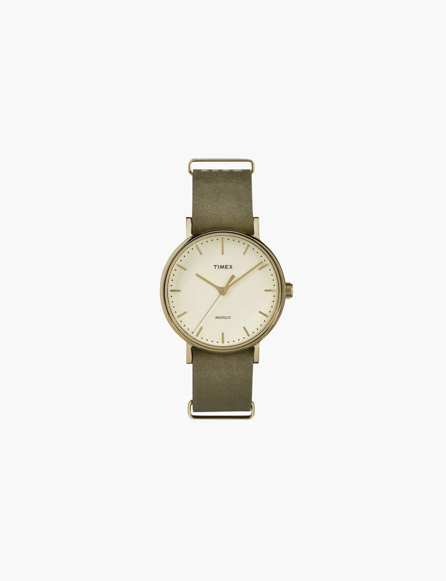 Timex / The Fairfield in Gold Tone with Olive Leather Strap