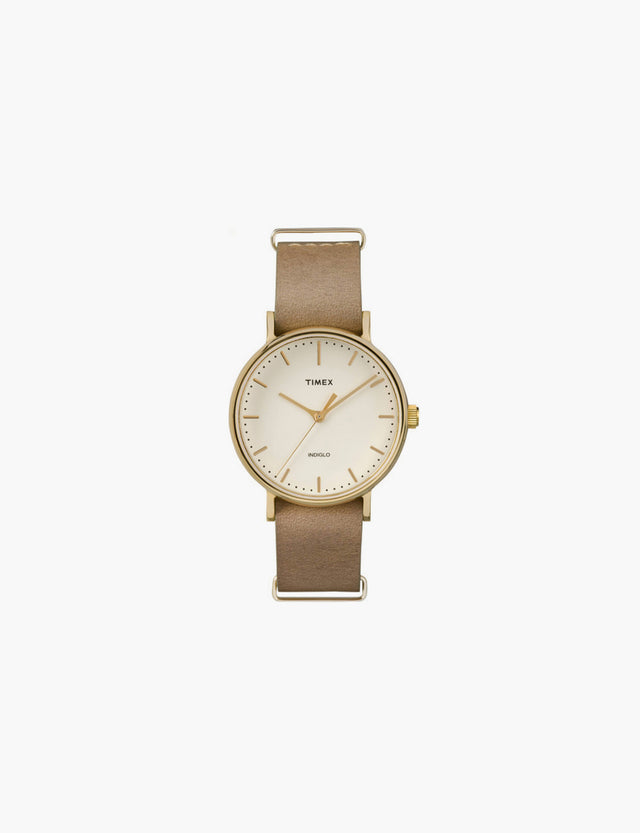Timex / The Fairfield in Gold-Tone with Taupe Leather Strap
