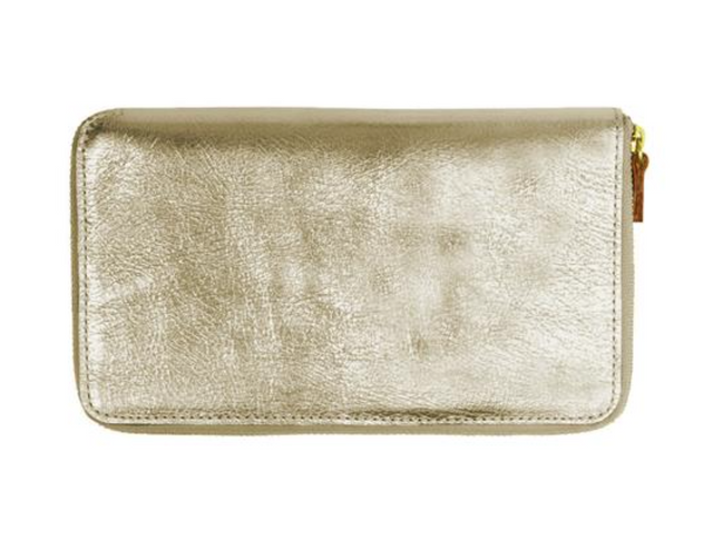 Minor History / Tall Coupe: Large Zipper Wallet in White Gold