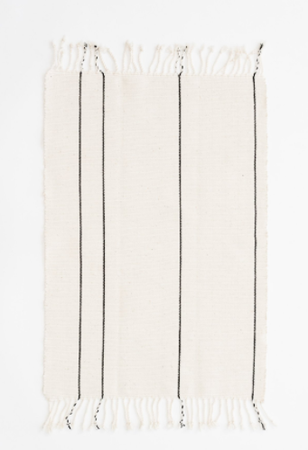Caroline Z Hurley / Francisco White Stripe Bath Mat
