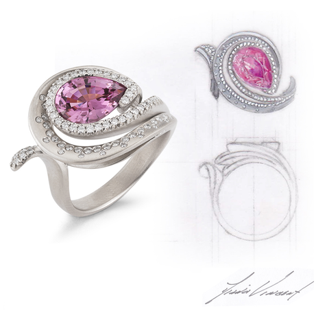 Custom Pear Pink Spinnel, Diamond and White Gold Swirl Ring and Design Sketch