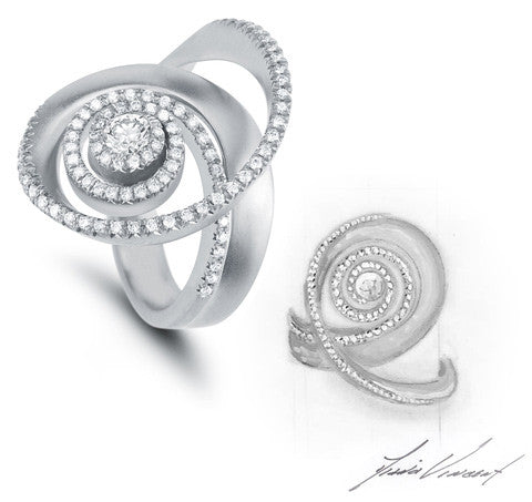Custom Diamond and White Gold Swirl Ring and Design Sketch