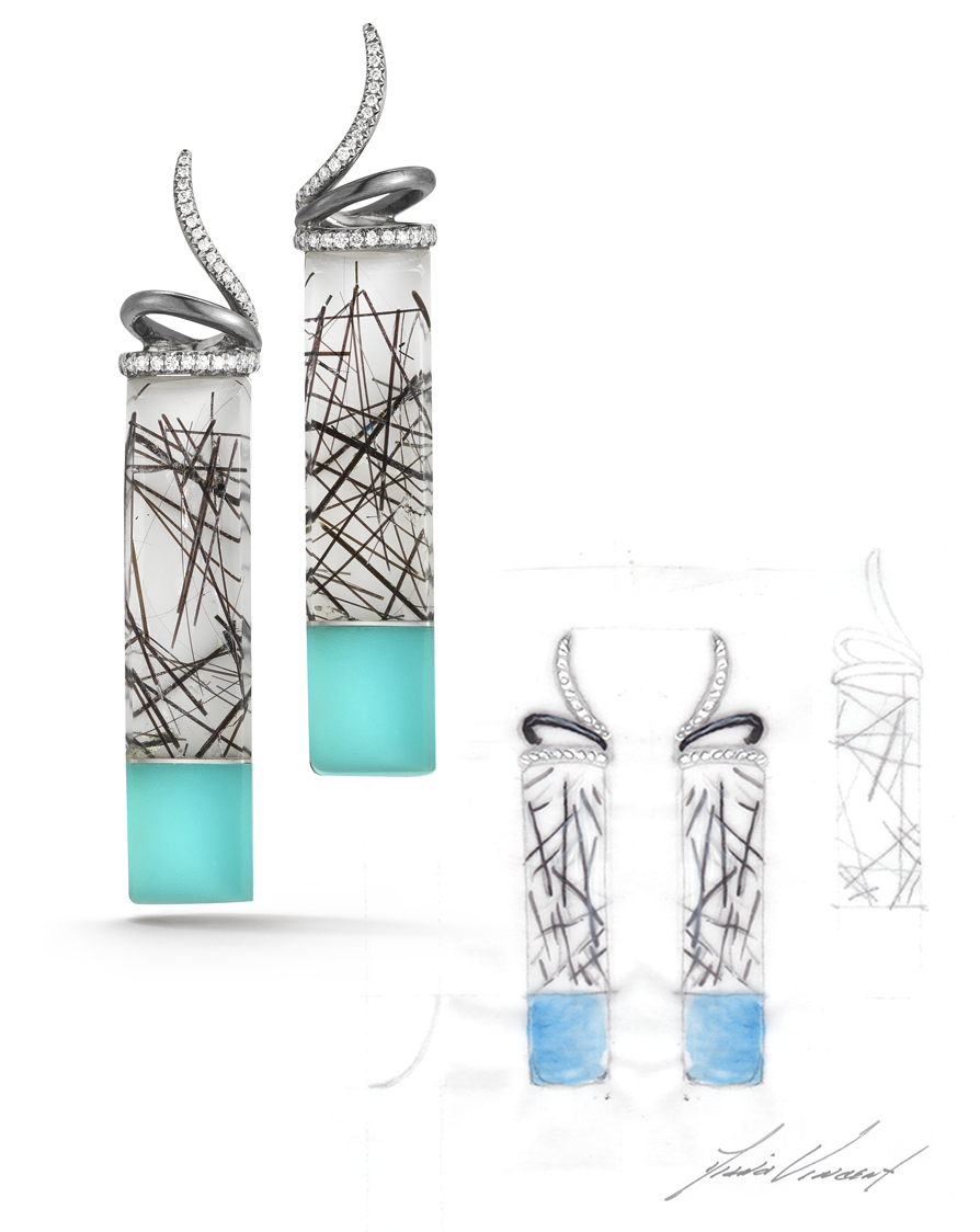 Carved Tourmalinated Quartz, Turquoise, Rock Crystal and Diamond Twirl Earrings