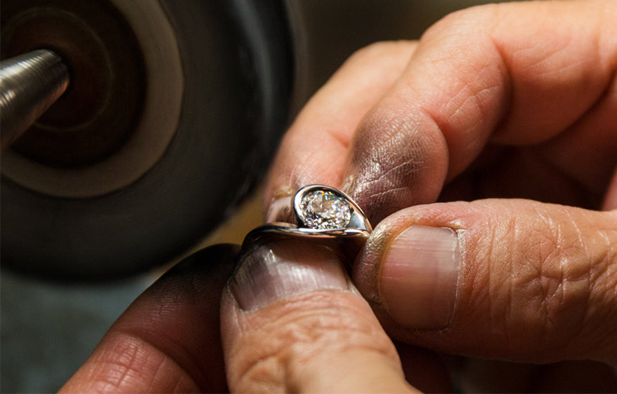 Diana Vincent Process showing polishing for engagement ring