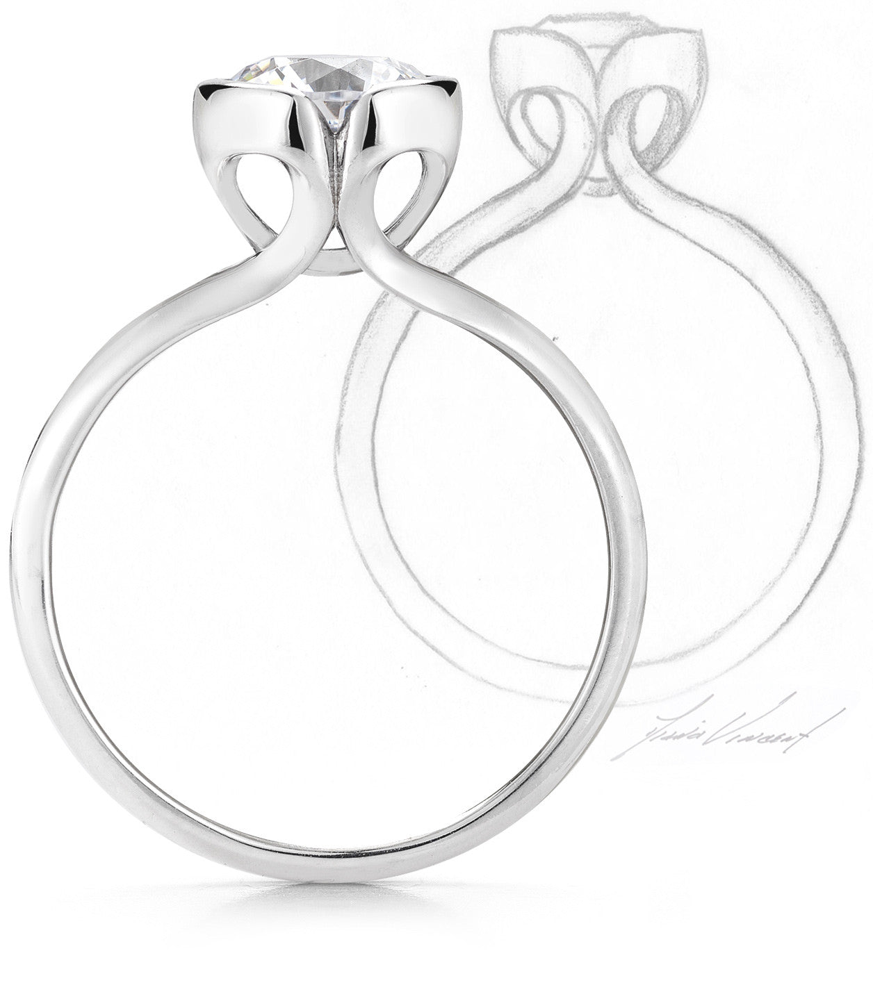 Steller Diamond Ring and Sketch