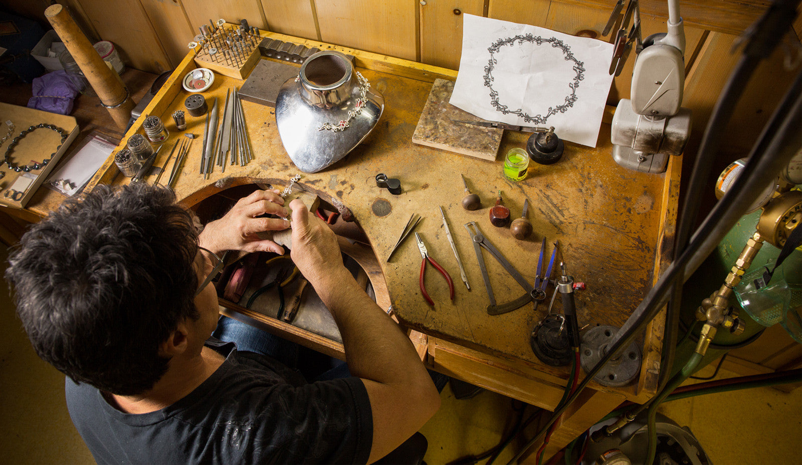Diana Vincent Process showing jeweler at workbench