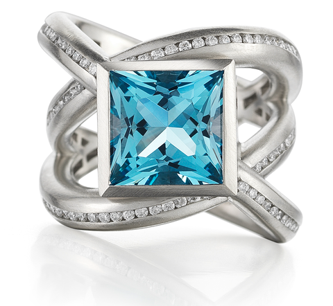 Diana Vincent Diamond and Topaz Ring