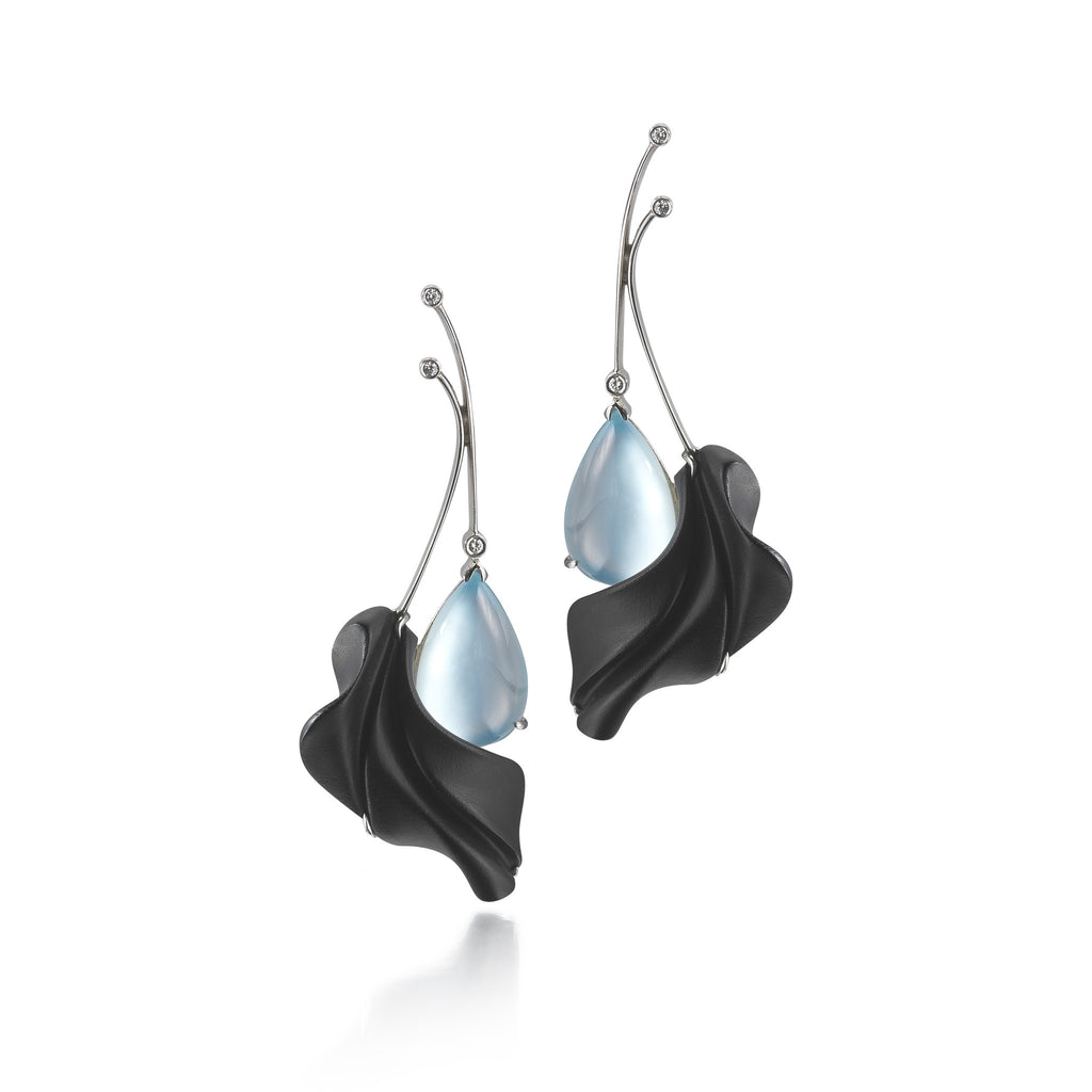 Carved Black Onyx, Blue Topaz Gemstone and Diamond Earrings by Diana Vincent