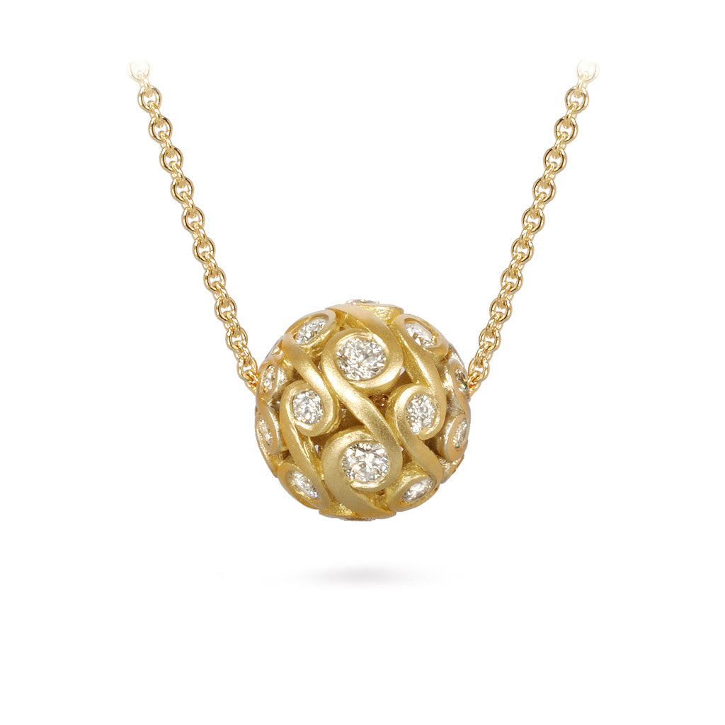 Contour Diamond and Yellow Gold Sphere Pendant Necklace by Diana Vincent