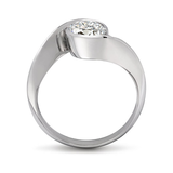 Diamond & Platinum Contour Solitaire Engagement Ring Side View