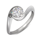 Diamond & Platinum Contour Solitaire Engagement Ring Quarter View