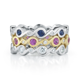 Contour Entwined Blue Sapphire and Pink Sapphire and Diamond Stack Bands