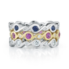 Contour Entwined Diamond and Pink Sapphire and Blue Emerald Stack Bands