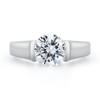 Entre Nous Solitaire Inside Pave Diamond Line Engagement Ring by Diana Vincent