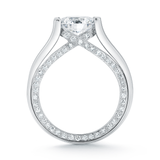 Entre Nous Solitaire Inside Pave Diamond Line Engagement Ring Side View