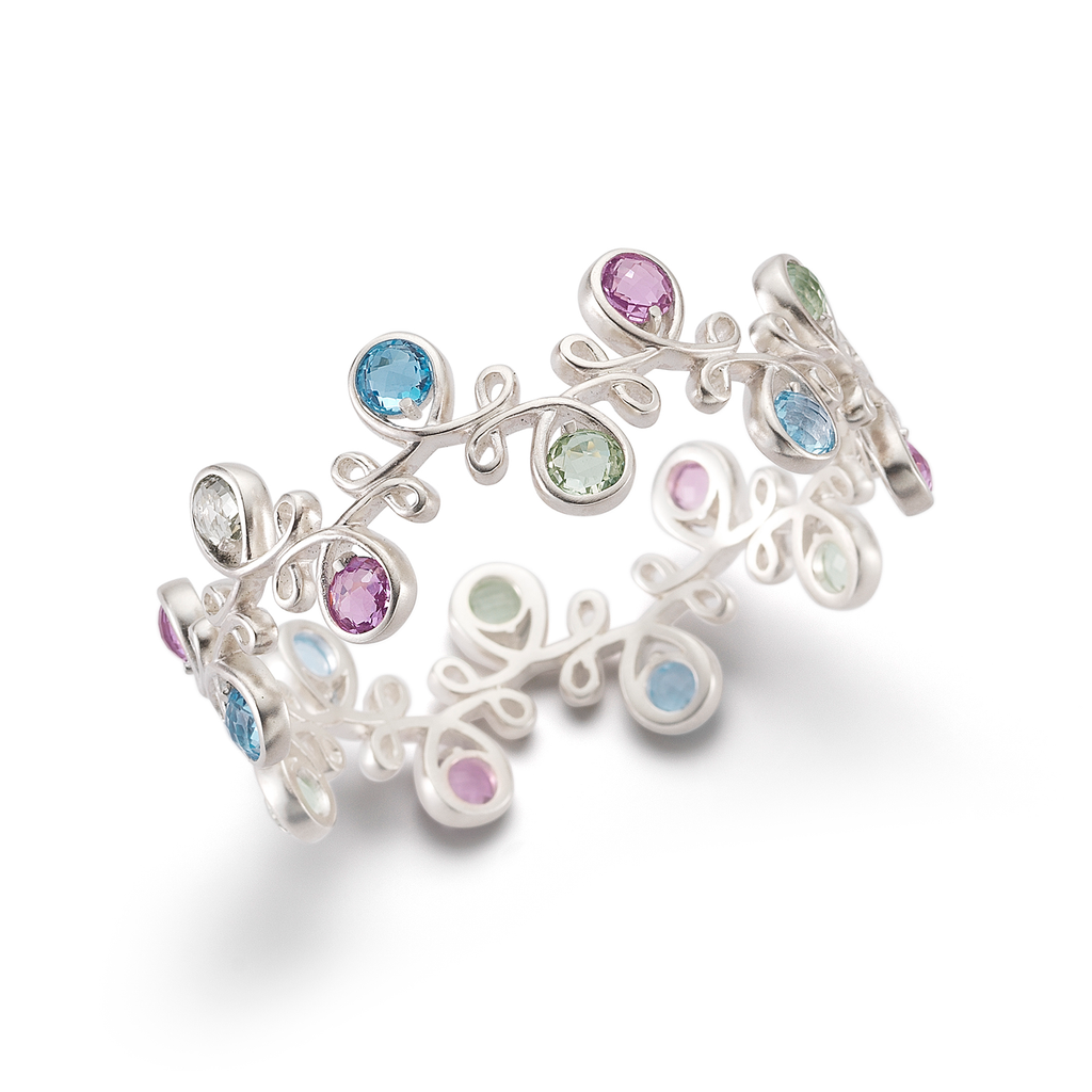 Unique Twisting Kaleidoscope Colored Gemstones and Sterling Silver Bracelet by Diana Vincent