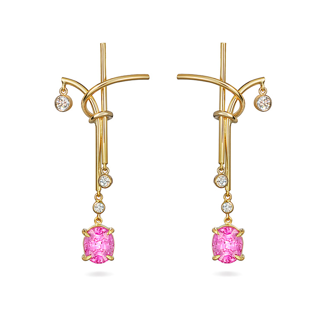 Pink Sapphire Gemstone and Yellow Gold Splash Chandelier Earrings by Diana Vincent