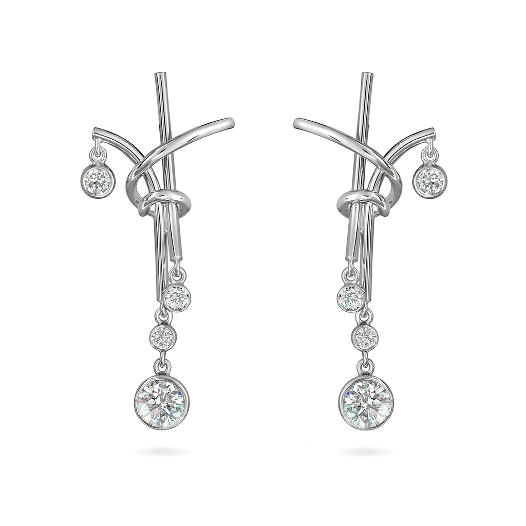 Diamond and White Gold Splash Chandelier Earrings by Diana Vincent