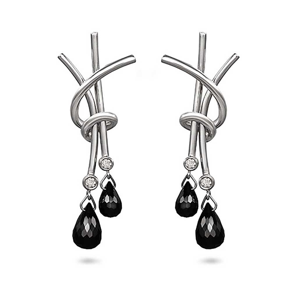 Black Spinel and Diamond Splash Chandelier Earrings by Diana Vincent