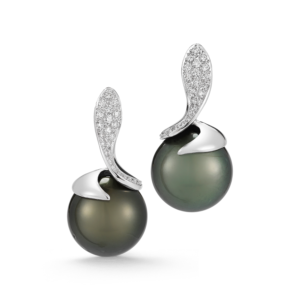 Tahitian Black Pearl and Diamond Earrings by Diana Vincent