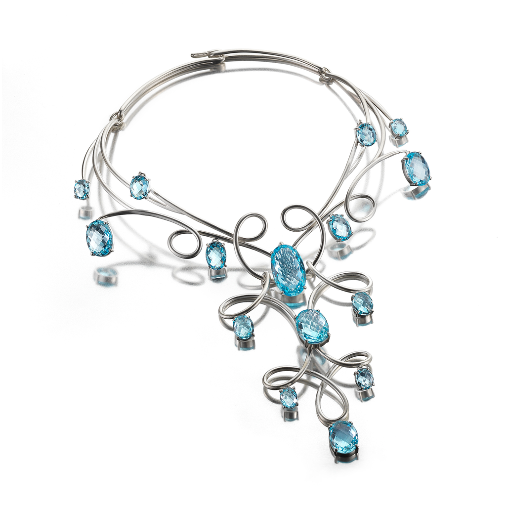 Kaleidoscope Blue Topaz Gem Stones and Twisting Sterling Silver Necklace by Diana Vincent