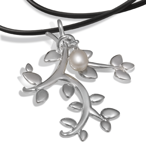 Leaf Large Pearl and Sterling Silver Pendant