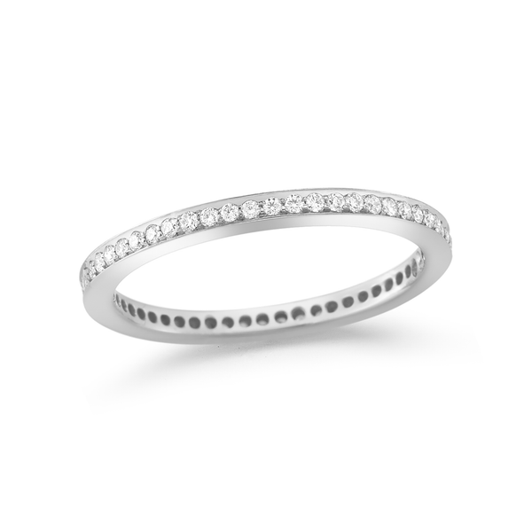 Clean modern diamond engagement band handcrafted