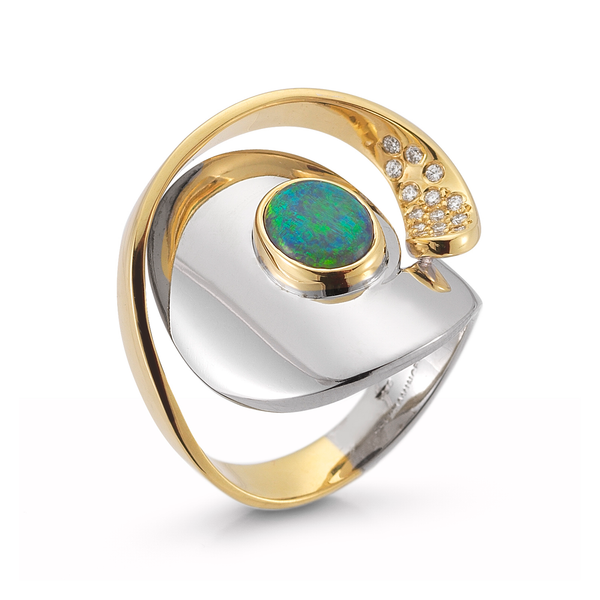 Large Black Opal Gemstone and Diamond Yellow and White Gold Wrap Ring by Diana Vincent