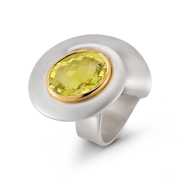 Kaleidoscope Large Lemon Quartz and Sterling Silver Ring by Diana Vincent