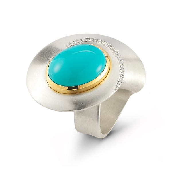 Kaleidoscope Large Turquoise and Diamond Sterling Silver and Yellow Gold Ring by Diana Vincent