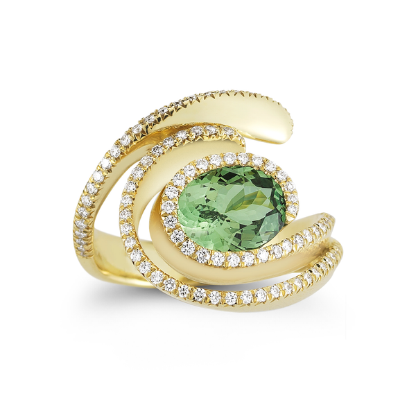 Diana Vincent Mint Garnet and Diamond Ring