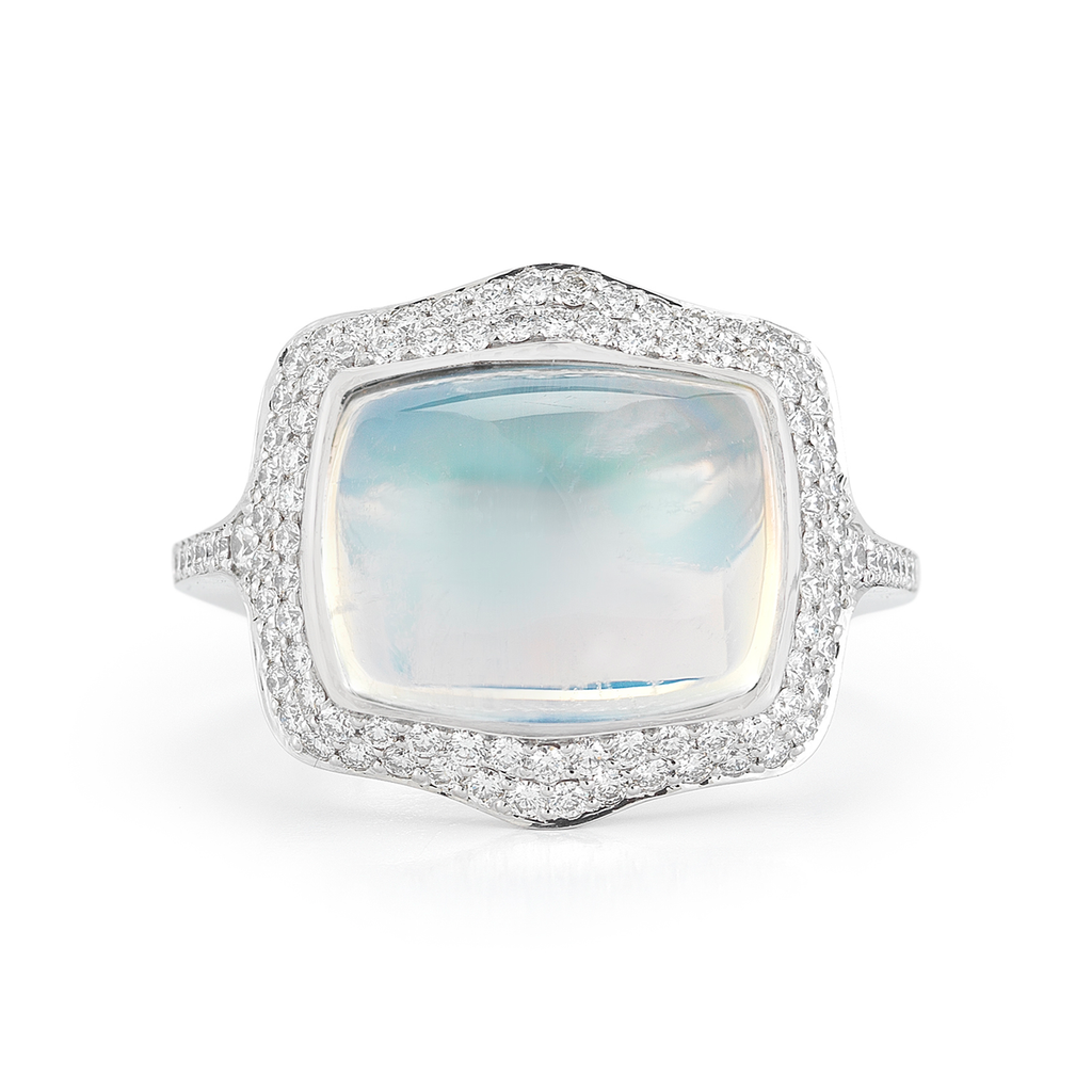 Large Moonstone Gemstone and Diamond White Gold Ring by Diana Vincent