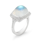 Large Moonstone Gemstone and Diamond White Gold Ring Side View