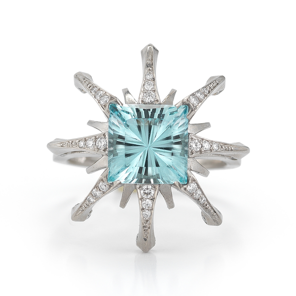 Diana Vincent Aquamarine and Diamond Ring