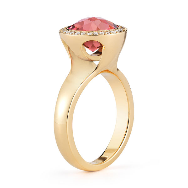 Unique yellow gold pink tourmaline ring with diamond halo handcrafted