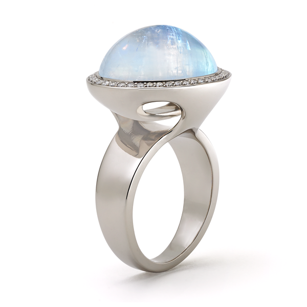 Unique handcrafted rainbow moonstone and diamond ring