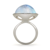 Steller Large Rainbow Moonstone Gemstone and Diamond Ring Side View