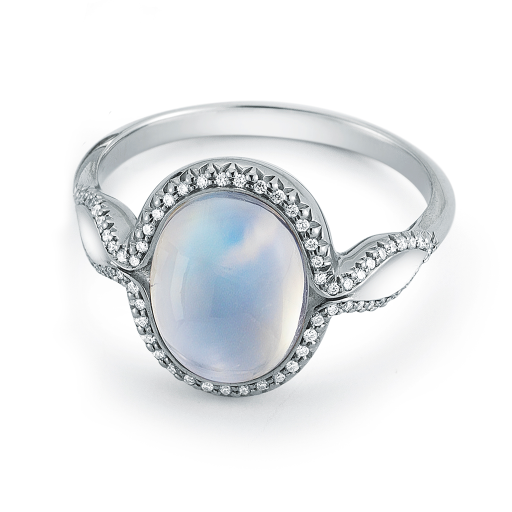 Large Rainbow Moonstone Gemstone and Diamond Ring by Diana Vincent