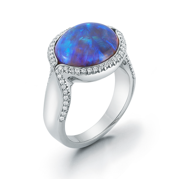 Natural Jelly Opal and Diamond Ring