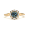 Steller Flare Natural Blue Green Sapphire Gemstone and Diamond Engagement Ring by Diana Vincent