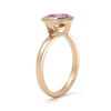 Unique handcrafted pink sapphire diamond yellow gold ring antique inspired