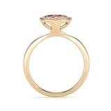 Steller Flare Natural Pink Sapphire Gemstone and Diamond Engagement or Cocktail Ring Side View