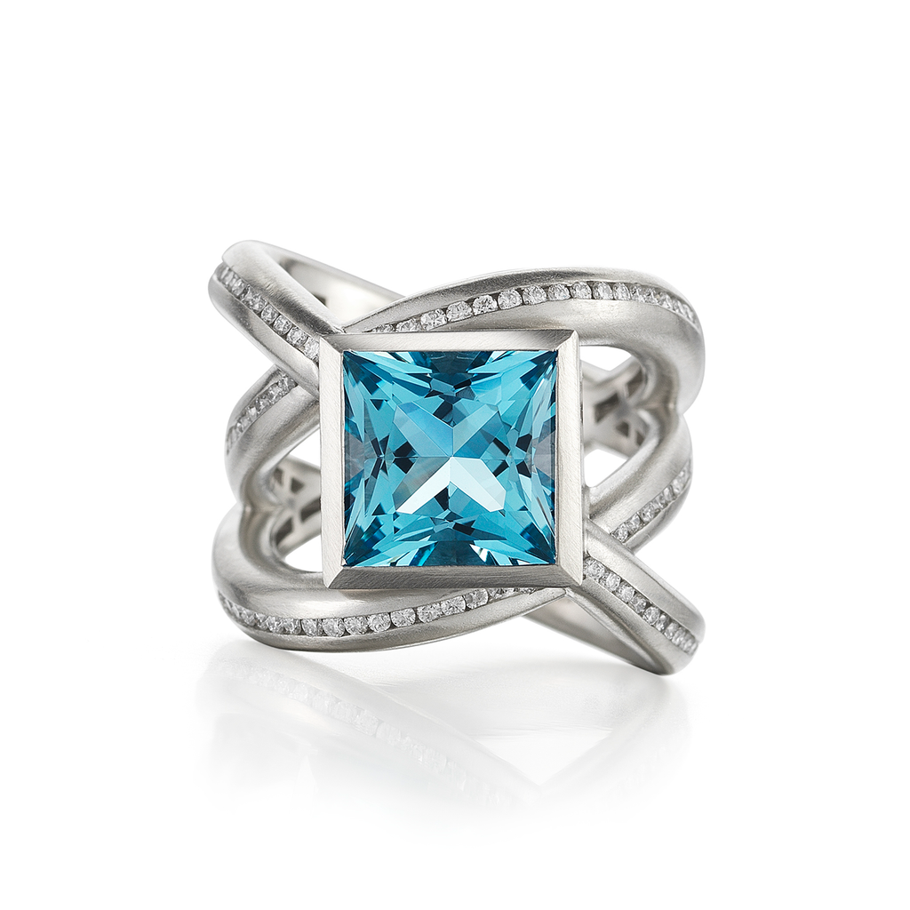 Enwrapped Large Aquamarine Gemstone and Diamond Pave Ring by Diana Vincent