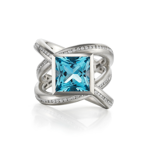 Enwrapped Aquamarine and Diamond Ring