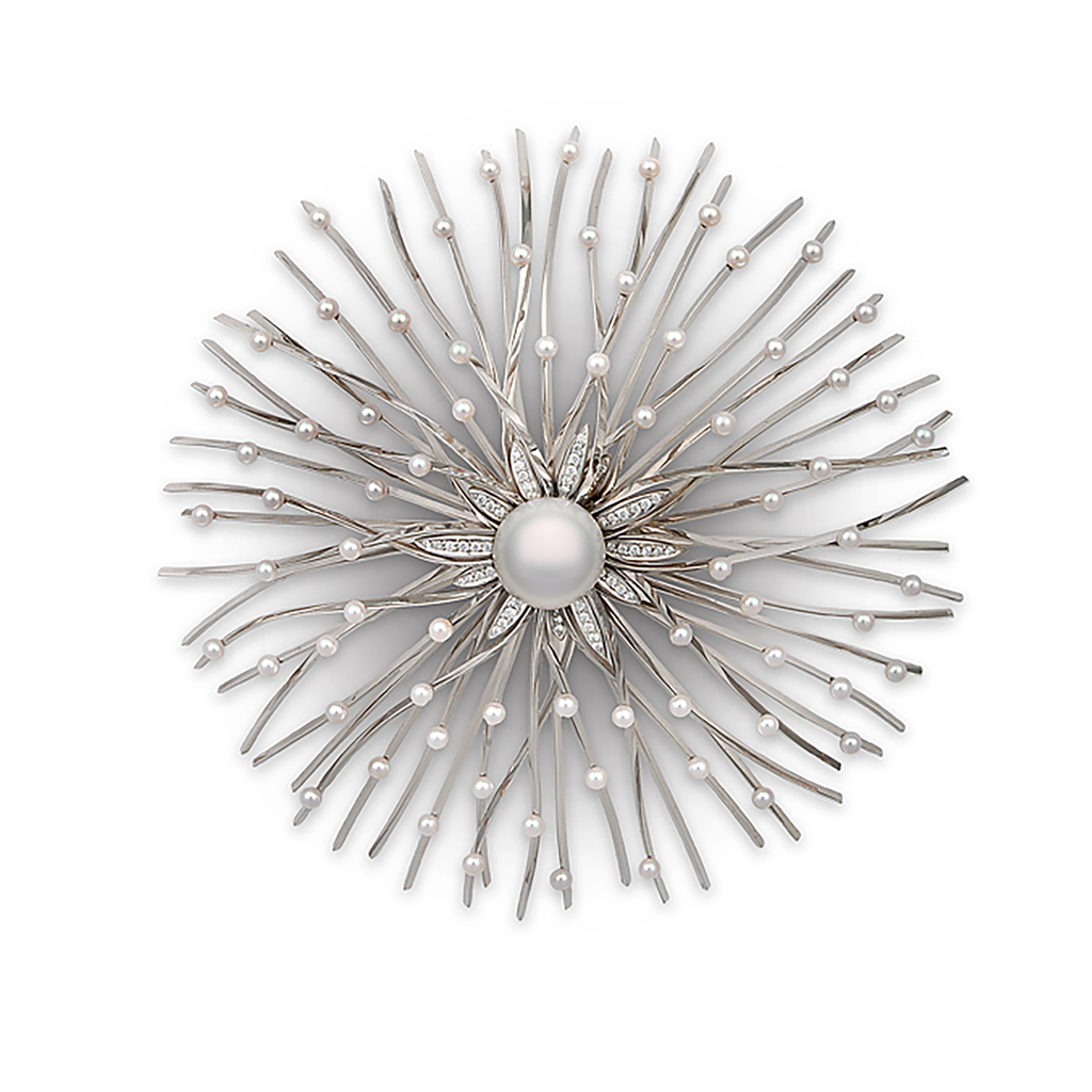 Shop the Explosion South Sea Pearl and Pave Diamond White Gold Brooch Pin Online