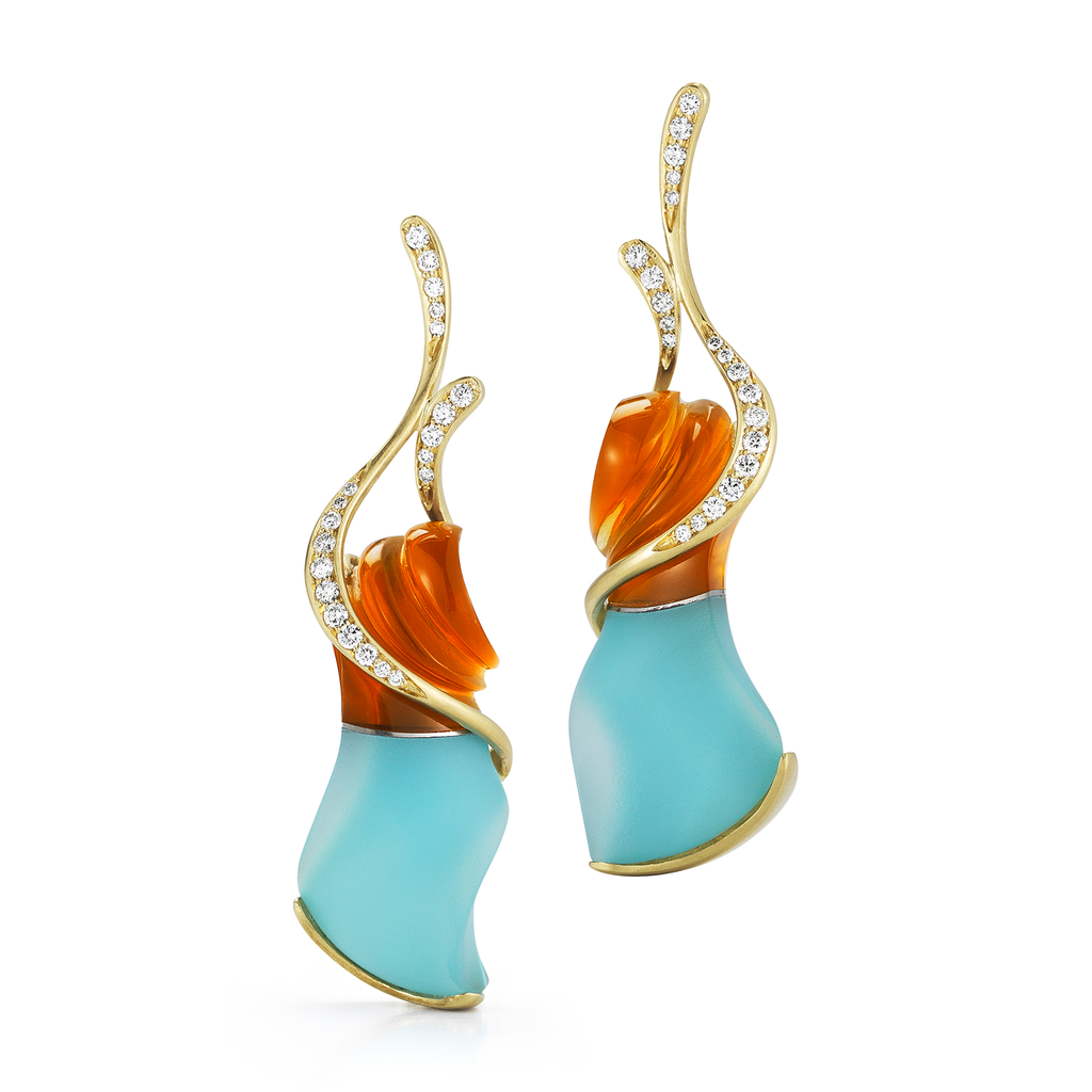 """Fire"" Carved Turquoise, Rock Crystal, Citrine Gemstone and Diamond Earrings by Diana Vincent"