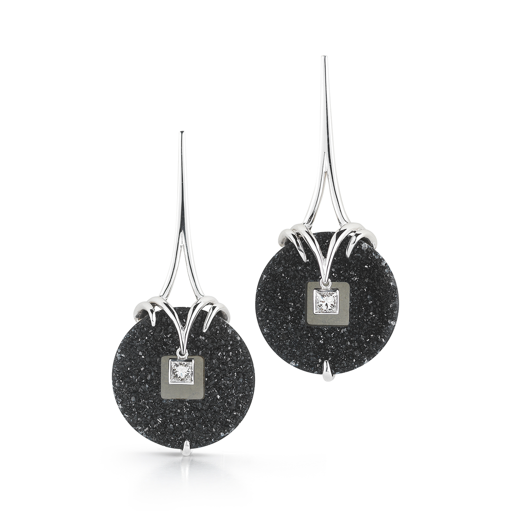 Onyx Druzy and Diamond Earrings by Diana Vincent